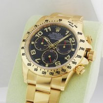 Rolex Daytona 116528 Yellow Gold Blue Arabic Dial NEW B&P