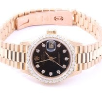 Rolex Ladies 18K Gold President - Black Diamond Dial/Diamond...