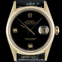 Rolex 18k Y/G Unusual Onyx Diamond Dial Datejust Gents 16018
