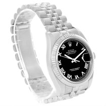 Rolex Datejust Steel 18k White Gold Black Roman Dial Watch 116234