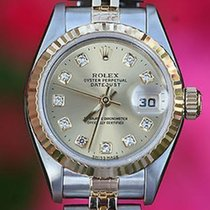 Rolex Ladies Two Tone Datejust Steel 18k Gold Factory Diamond...