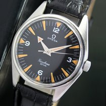 Omega 30mm Winding Black Radium Dial Steel Mens Watch