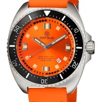 Deep Blue Deep Star 1000 Swiss Automatic Orange Sunray Dial...