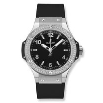 Hublot Big Bang 38 Stainless Steel with Diamonds Black Strap
