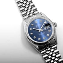 Rolex Steel 36mm DATEJUST Electric Blue Diamond Dial Quickset