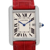 Cartier Tank Louis Large White Gold Red Strap Unisex Watch...
