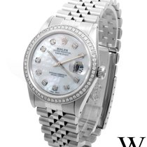 Rolex SS 36mm DATEJUST White Mother of Pearl Diamond Dial...