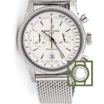 Breitling Transocean Chronograph 38mm Silver Dial Diamonds...