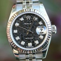 Rolex Ladies 26mm Datejust 179174 Steel Factory Black Diamond...
