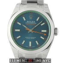 Rolex Milgauss Stainless Steel 40mm Green Crystal Z-Blue Dial