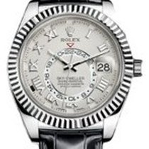 Rolex Sky-Dweller 326139 42mm Ivory Roman 18k White Gold Black...