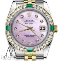 Rolex Ladies Rolex 31mm Datejust 2 Tone Pink Mop Dial With...