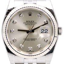 Rolex Datejust 36 116234-SLVDFJ Silver Diamond Fluted White...