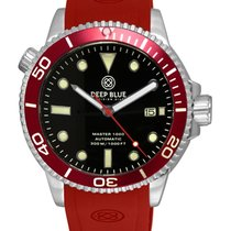 Deep Blue Master 1000 Auto Ceramic Diver Watch Red Strap Red...