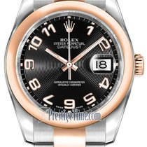 Rolex Datejust 36mm Stainless Steel and Rose Gold 116201 Black...