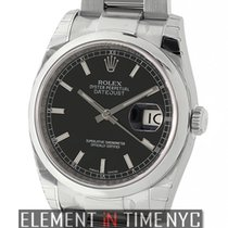 Rolex Datejust Steel 36mm Domed Bezel Black Index Dial