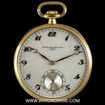 Patek Philippe 18k Yellow Gold Open Face Silver Arabic Dial...