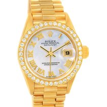 Rolex President Datejust Yellow Gold Mop Diamond Dial Watch 79178