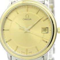 Omega Polished Omega De Ville Prestige 18k Gold Steel Mens...
