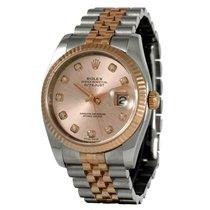 Rolex Datejust Rose Gold/Steel Diamond Dial 116231