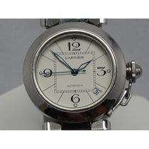 Cartier Pasha C 2324 White Blue Steel Hands Quick Set 35mm