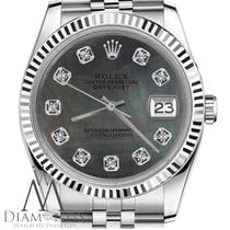 Rolex 36 Mm Datejust Black Tahitian Mop Mother Of Pearl...