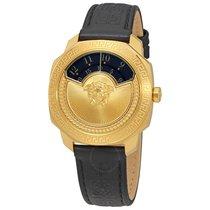 Versace Dlyos Black Disc Dial Black Leather Ladies Watch