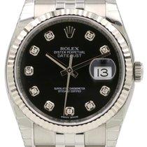 Rolex Datejust 36 116234-BLKDFJ Black Diamond Fluted White...