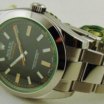 Rolex Milgauss Steel Black Dial Green Crystal 40 mm
