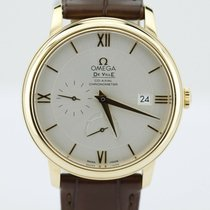 Omega Deville Prestige Power Reserve 18k Gold On Brown...