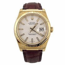 Rolex Datejust 18K Yellow Gold with Brown Leather Strap 116138...
