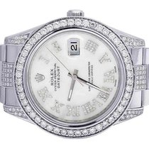 Rolex Mens Rolex Datejust II 116300 White MOP Dial Iced Out...