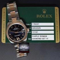 Rolex Datejust Steel & 18k Rose Gold Purple Diamond Dial...