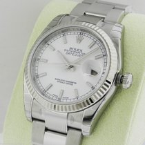 Rolex Datejust 36mm White Index Stick Oyster 116234 Box and...