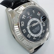 Rolex Sky-dweller 326139 Perpetual 18k White Gold On Leather Band