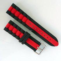 Hadley Roma Silicone Rubber strap. Black/Red. 22mm