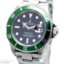 Rolex Submariner Date Ref-16610LV Green Bezel Stainless Steel...