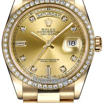 Rolex Day-Date 36mm Yellow Gold Diamond Bezel 118348 Champagne...