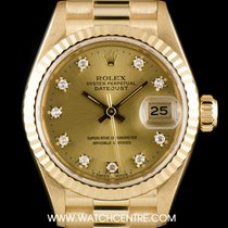 Rolex 18k Y/Gold Champagne Diamond Dial Datejust Ladies...