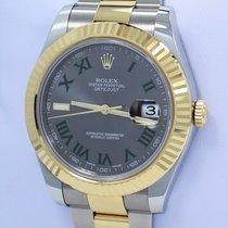 Rolex Datejust II 116333 41mm 18k Yellow Gold /ss Roman Grey...