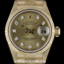 Rolex 18k Y/G O/P Bark Finish Diamond Dial Datejust Ladies 69278