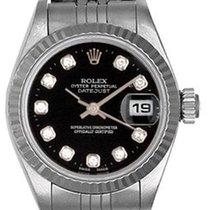 Rolex Ladies Rolex Datejust Watch 69174 Custom Black Diamond Dial