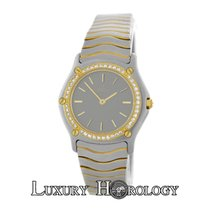 Ebel Mint Ladies Wave Diamond Bezel Stainless Steel 18K Gold