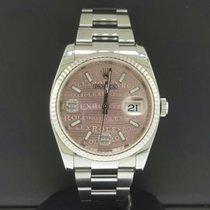 Rolex Datejust 36mm Steel 18k Fluted Bezel Pink Wave 6/9...