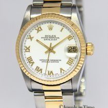 Rolex Datejust 18k Yellow Gold/Steel White Roman Dial Midsize...