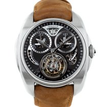 AkriviA Tourbillon  Chronographe Monopusher steel black dial