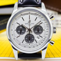 Breitling AB015212/G724 Transocean Chronograph SS/Strap Silver...