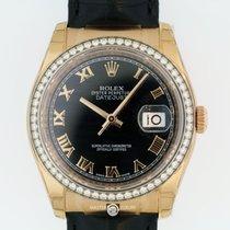 Rolex 116185 Datejust 36 Everose Black Roman Dial Diam Bezel