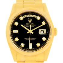 Rolex President Day Date Yellow Gold Black Diamond Dial Watch...