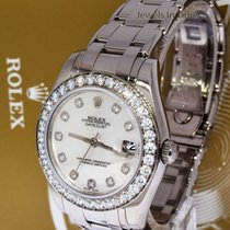 Rolex 34mm Pearlmaster 18k White Gold MOP Diamond Dial Watch...